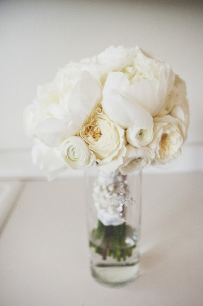White pions and roses