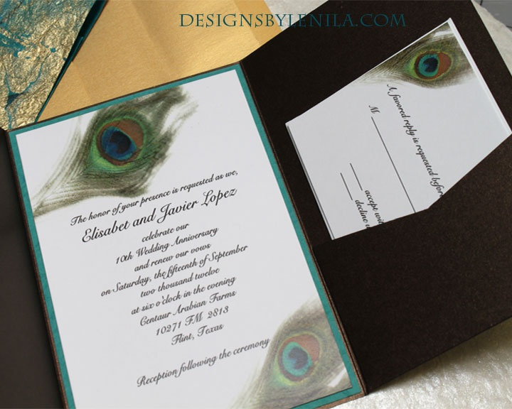 "Beautiful peacock design with amazing metallic envelopment and belly band. Greens, teals, aqua hues with accents of gold. There is a convenient pocket for all your important information for your guests. 5"" x 7"" invitation as shown includes: ~Bronze metallic envelopment ~Watercolor design on 90# cardstock ~Vellum overlay with your text ~Mulberry paper backing ~Gold metallic envelope included Reply card sold separately."