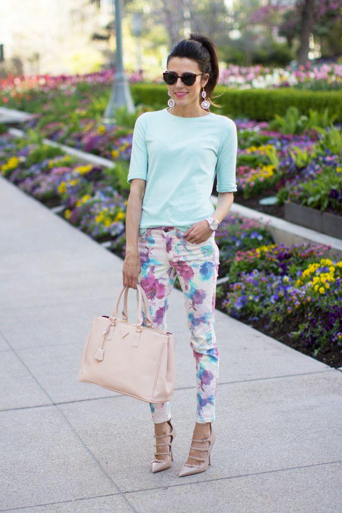 mint green tee - floral ankle pants - nude pointed toe heels - crystal statement earrings - cream tote bag