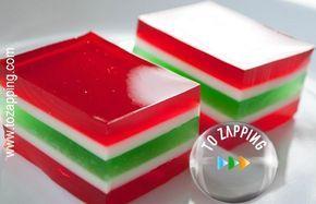 Gelatina de colores.La gelatina puede ser un postre perfecto.Estas gelatinas son perfectas para los mayores por que son beneficiosas para las articulaciones