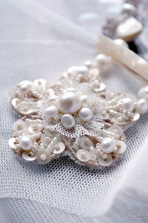 Beautiful Pearl Floral Necklace by PurePearlBoutique on Etsy