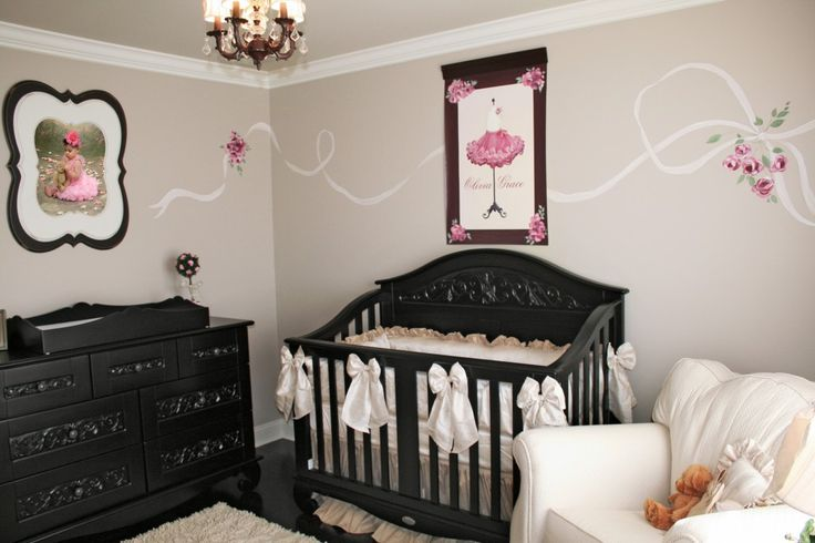 Whimsical, vintage-inspired #nursery for #babygirl.Wall Colors, Little Girls Room, Girl Nurseries, French Parisians, Baby Girls Room, Projects Nurseries, Girls Nurseries, Black Furniture, Baby Nurseries