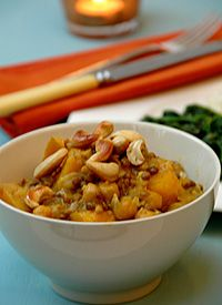 Mild Vegetable Curry Topped with Cashew Nuts