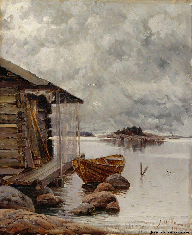 Aukust Uotila (1858-1886) Nuottakota / Boat house 1884 - Finland