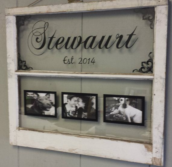 Vintage Window Two Pane Family Name by VaughnCustomCreation, $75.00. Family Name. Picture Frames. Wedding. Gift. Newly Weds. Marriage. Anniversary. Established. Flourishes. Old Window. Antique Window.                                                                                                                                                     More