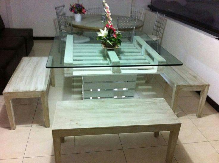 Mesa de palet de vidrio  Butacos Vintage  Contáctanos 3115194190