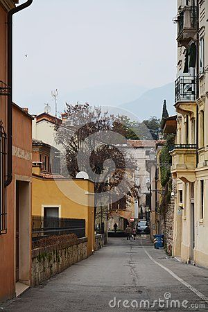 Streets in the old town of Bassano del Grappa, Veneto, Italy.