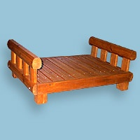 Pet Beds - Merry Products Medium Log Home Dog House Porch