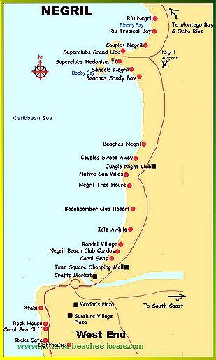 Map Of Hotels On 7 Mile Beach Negril Jamaica The Best Beaches In
