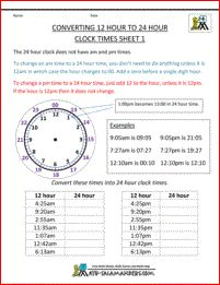 Convert 12 hour to 24 hour clock sheet 1
