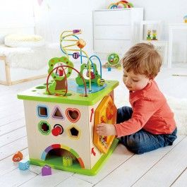 Country Critters Multi Activity Toddler Play Cube - Educational Toys Planet. Great gift for 12 months old child. Five different manipulative activities of this Hape's Country Critters Play Cube guarantees to keep toddlers' attention for hours of beneficial play!  Develops Skills - manipulative skills, shapes, colors, sorting skills, large motor skills, hand-eye coordination, cause