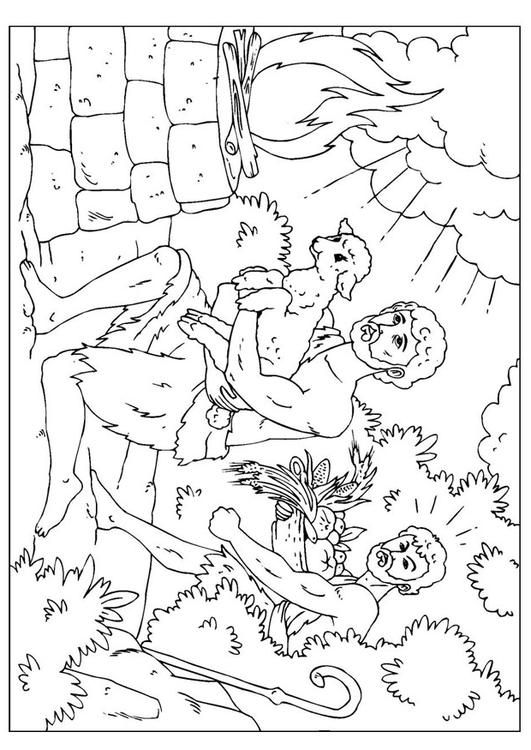 Coloring page Cain and Abel - coloring picture Cain and Abel. Free coloring sheets to print and download. Images for schools and education - teaching materials. Img 25956.