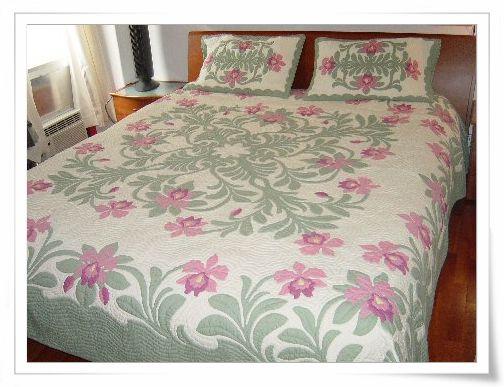 Orchid Splendor Bedspread - Hawaiian quilt