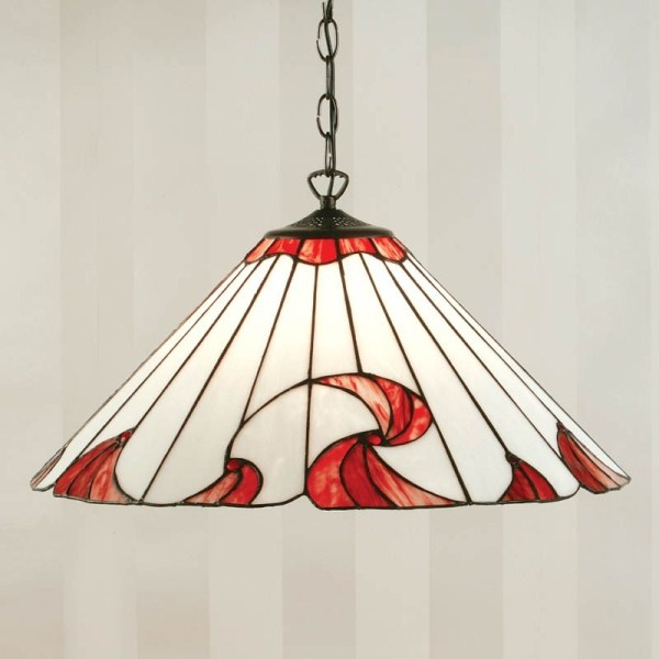 Swirl Red Tiffany Ceiling Light - Premier Lighting