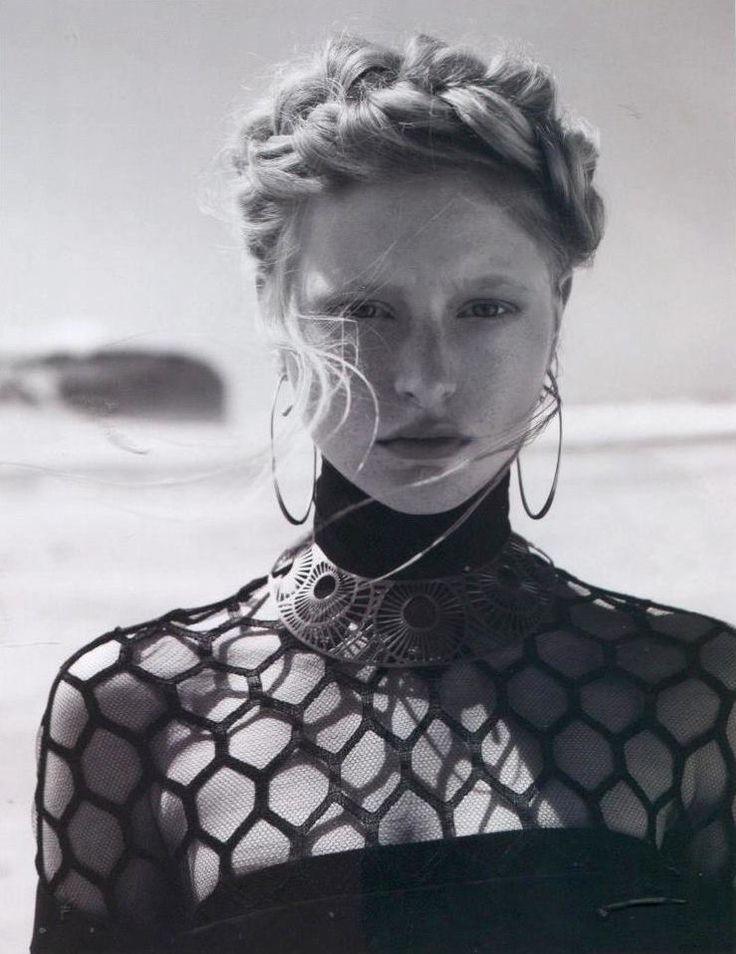 Tom Binns Design extra large Classic hoop earrings worn in Harper's Bazaar Polska