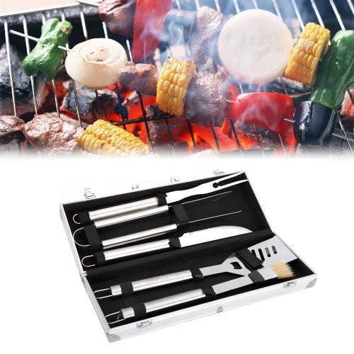 [$14.46] 5 in 1 Stainless Steel Outdoor BBQ Grill Set, Including Spatula & Fork & Tong Clip & Knife & Brush