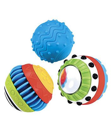 Pack of three balls with lots of different textures to explore.