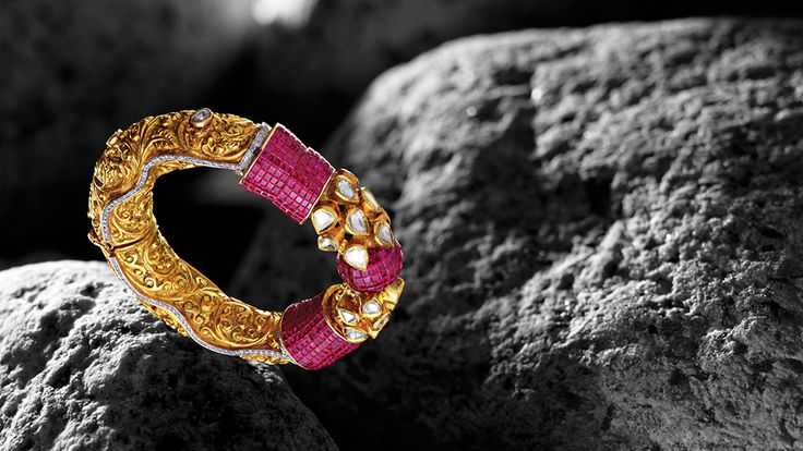 Bridhichand Ghanshyamdas bracelet with invisible-set rubies, traditional polki diamonds and embossed yellow gold, from the new Adrishya Collection