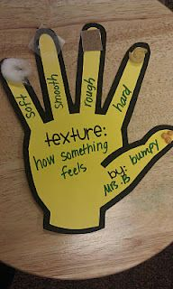 Texture Hand // Helps students understand what texture is. Each finger has a different texture, and the students will match the appropriate items on each finger.