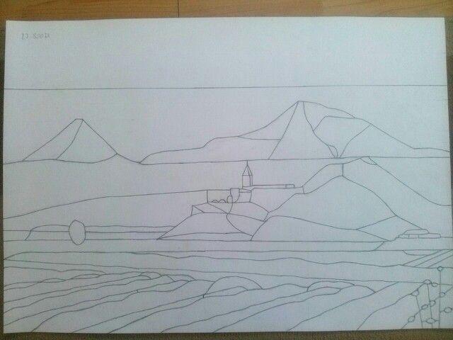Az Ararát hegyről készítek egy 60 x 32 cm - es képet. Megrajzoltam grafittal fotó alapján a tervet fehér kartonra.