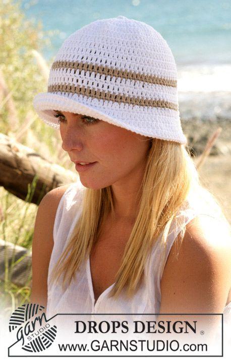 """DROPS Crochet hat in """"Paris"""" ~ DROPS Design"""