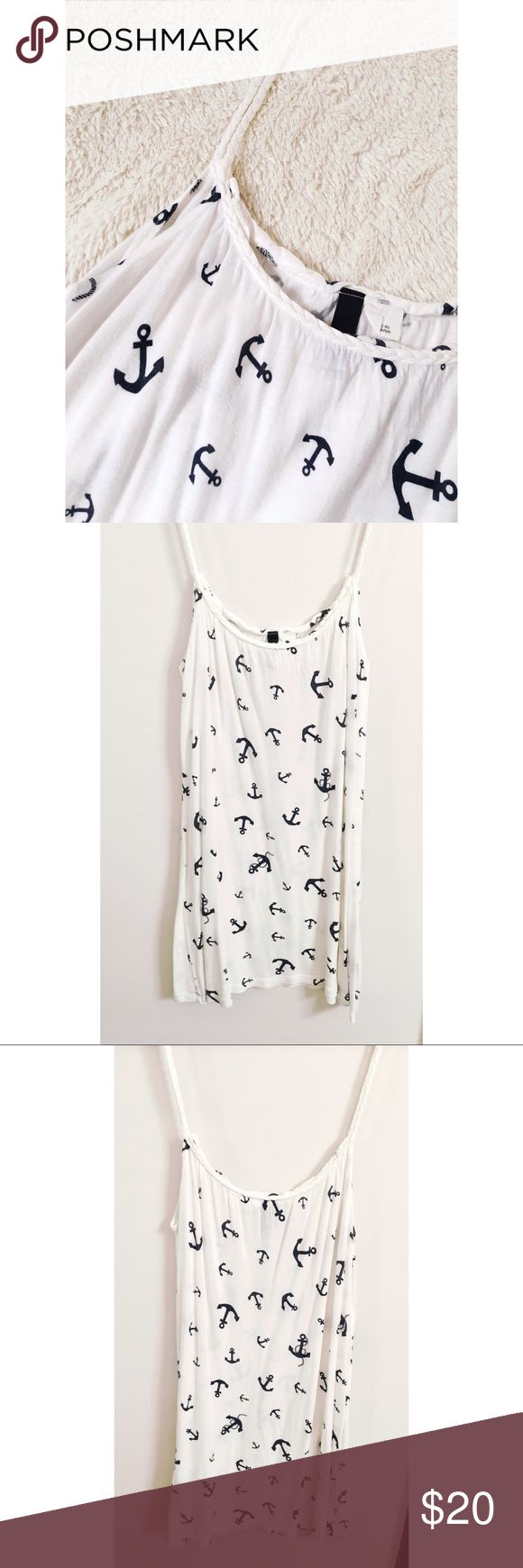 H&M • anchor tank H&M anchor tank top with braided straps. Size 4. can be worn as a tank or a beach coverup! About 27in long.  Super cute and loose fitting, perfect condition! H&M Tops Tank Tops