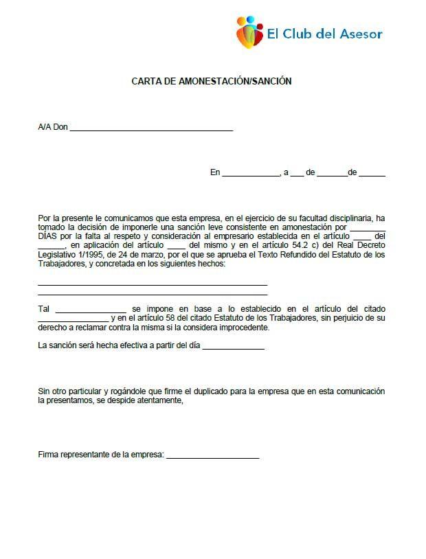 Modelo carta de amonestación con sanción