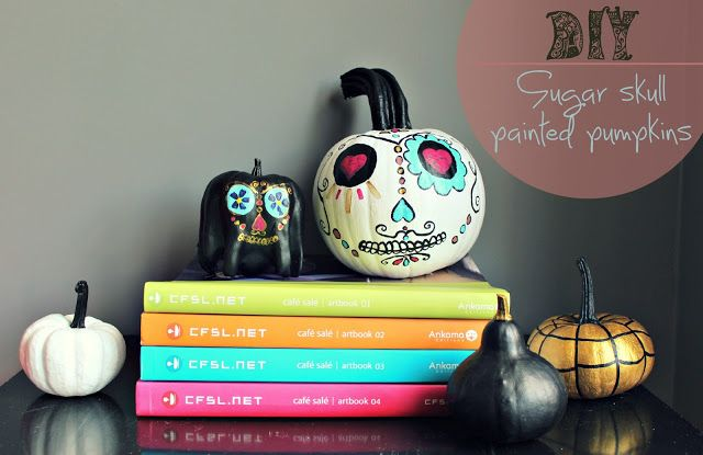 skull painted pumpkins | Things to plant | Pinterest