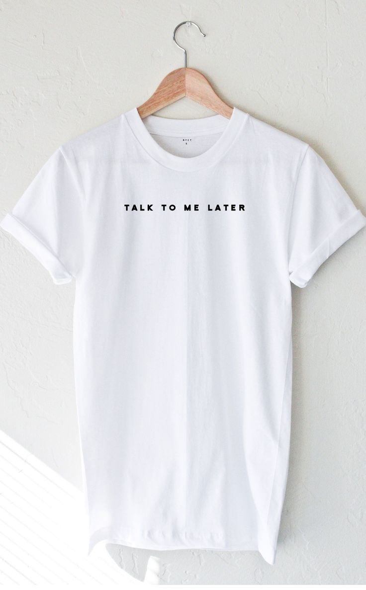 """- Description - Size Guide Details: Soft, unisex fit t-shirt in white with print featuring 'Talk To Me Later'. Brand: NYCT Clothing. 100% Cotton. Made in USA. Sizing: 34"""" / 86.36 cm width 27""""/ 68.58 c"""