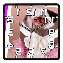 Opačné hodiny s fotografiou sklo