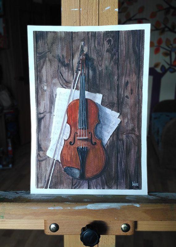 Violin painting ORIGINAL art work BBC Sherlock by ImbirArt on Etsy