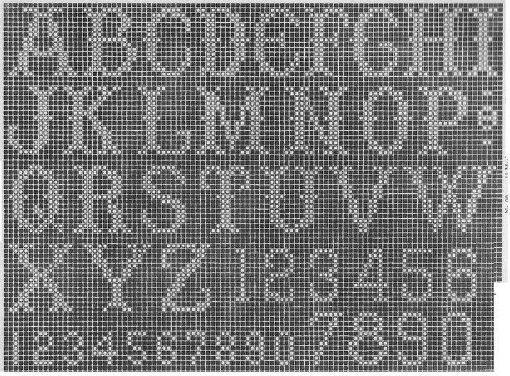 Filet crochet alphabet chart graph pattern