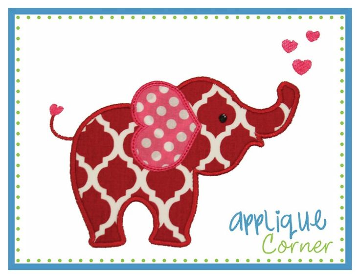 Elephant Heart Ear Applique Design : 4x4; 5x7; 6x10; & 7x11