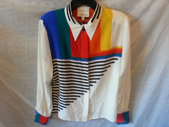 Vtg Colorblock and Black Striped Long Sleeve by VintageRevolved, $30.00
