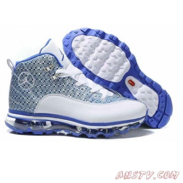 2014 New Air Jordan Homme Hommes Nike Air Max 12 Jordans Blanc Bleu  Chaussures