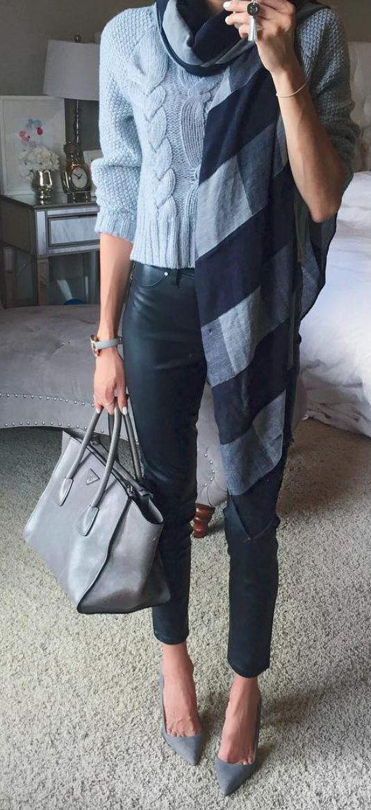 ❤ Light blue sweater, black/blue plaid scarf, black skinny jeans, grey shoes & handbag