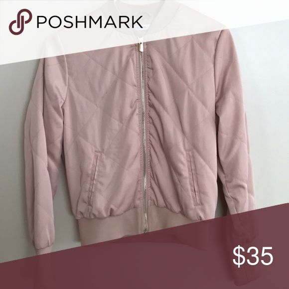 Pink bomber jacket this is a super cute and comfy light pink bomber jacket with gold detailing ivy revel Jackets & Coats Utility Jackets