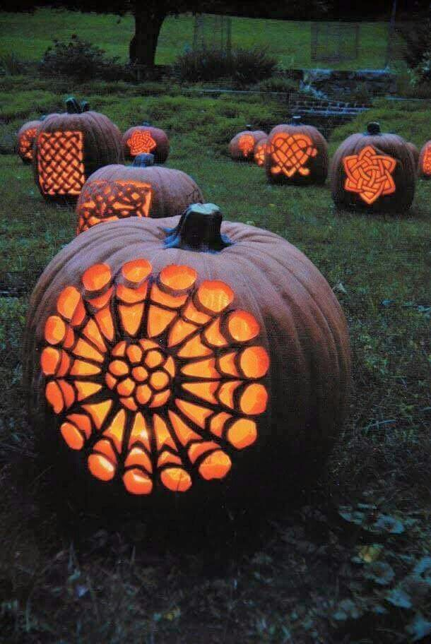 ☮ American Hippie Bohéme Boho Lifestyle ☮ Carved Mandala Pumpkins
