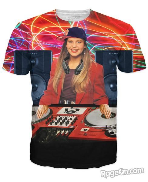 Check out this hilarious, all-over-print DJ Tanner T-Shirt! You have never seen the Full House daughter working at da club till now! Get this vibrant and fully