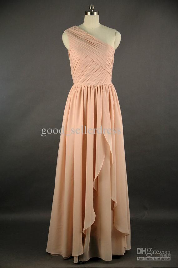 Wholesale Light Peach Long Bridesmaid Dresses Short One Shoulder Pleat Chiffon Fashion Bridesmaid Gowns 2013, Free shipping, $90.86/Piece | DHgate