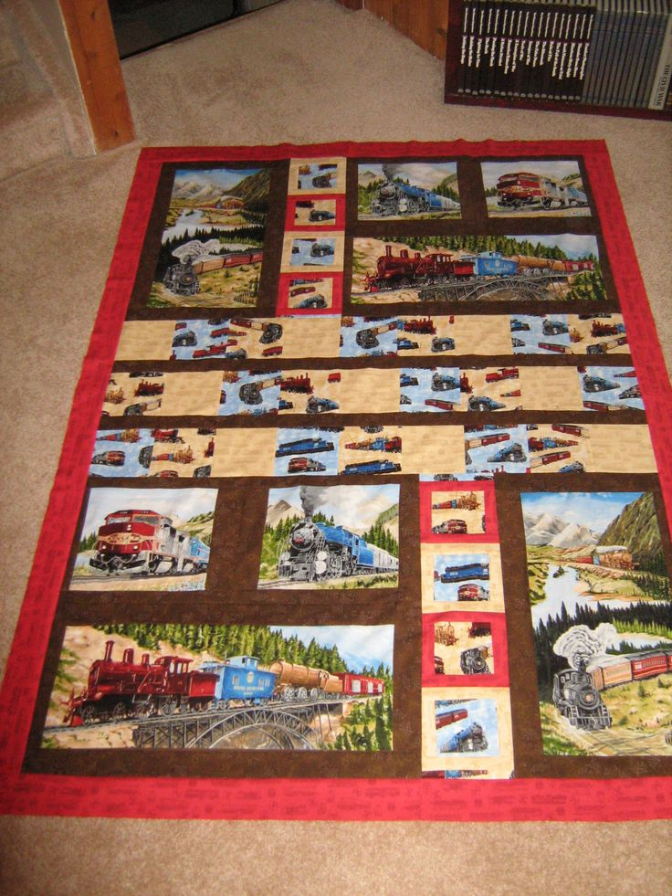 Train panel quilt dunn by yvonne quilts pinterest for Fabric with trains pattern