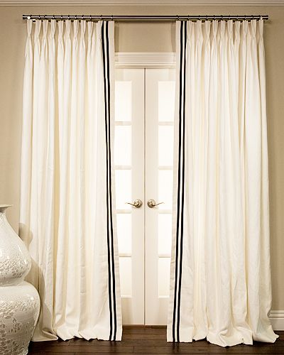 Grosgrain Ribbon Trimmed Drapes Dining Room