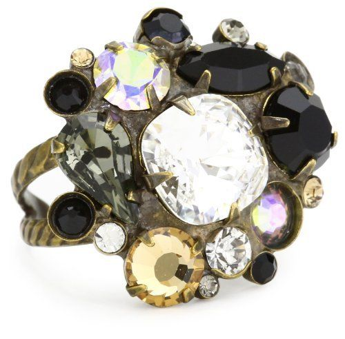 """Sorrelli """"Evening Moon"""" Multi-Cut Jet Black and Clear Crystal Cluster Cocktail Adjustable Ring Sorrelli. $93.60. Items that are handmade may vary in size, shape and color. Antique gold tone metal that fits most. Ring adjusts between sizes 7-9. Made in China"""