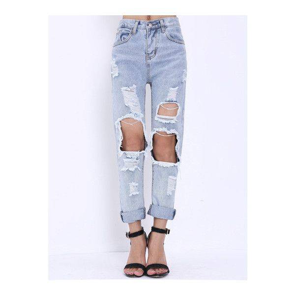 Extreme Ripped Mom Jeans Outfit Made ❤ liked on Polyvore featuring jeans, distressed jeans, rock jeans, torn jeans, destroyed jeans et ripped jeans