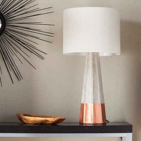 Cement/Copper Table Lamp with Linen Shade - Threshold™