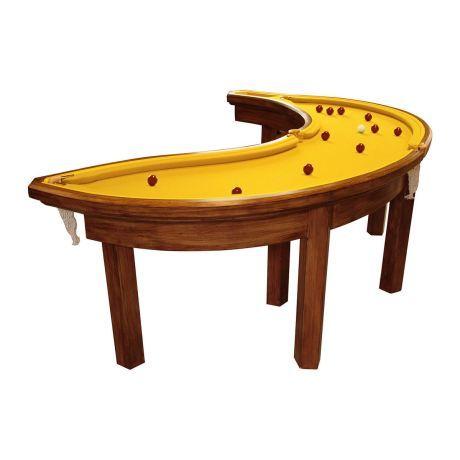Billard Tisch, Banane, 4 Taschen, Eschenholz Vorderansicht
