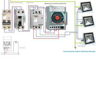 Esquemas eléctricos: maniobra reloj mas contactor focos exteriores