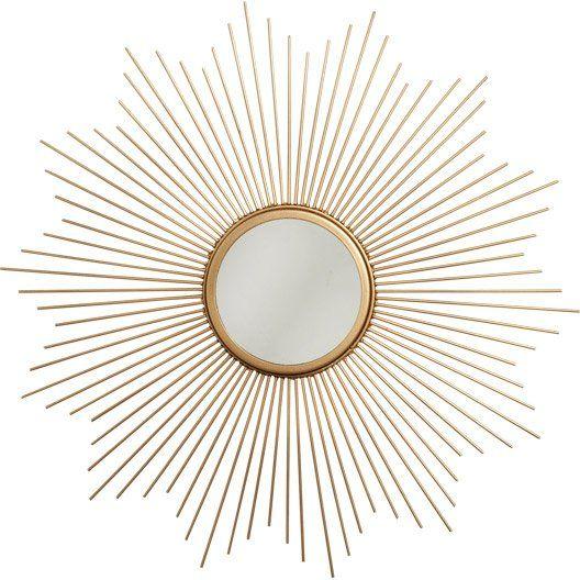 Miroir Soleil, métal, doré, Diam. 55 cm