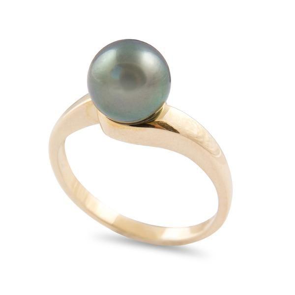 Tahitian Pearl Jewellery - 9K Yellow Gold Tahitian Cultured Black Pearl Ring