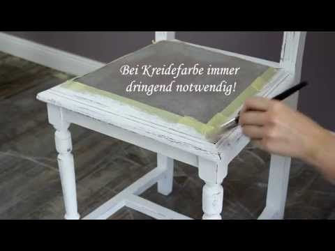 Anhand von einem Stuhl zeige ich Euch hier einmal das grundsätzliche Vorgehen beim Shabby Chic Streichen von Möbeln. - Here you can see the standard process painting a shabby chic piece of furniture.